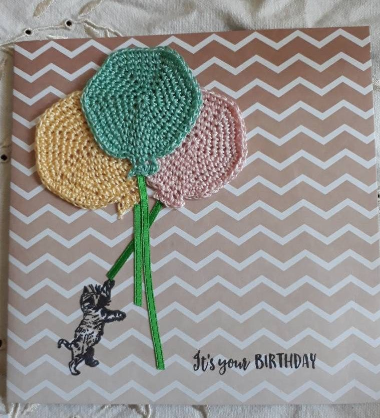 Handmade Happy Birthday Card Crochet Balloons And Cat Themed Balloon Ooak By Bootneckbabies