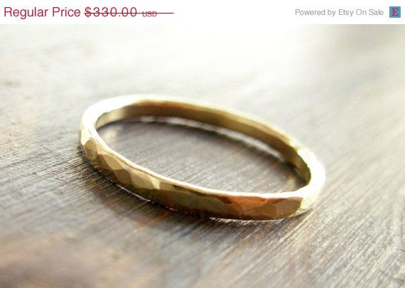 Gold. 14K Hammered Textured Band Wedding Ring (or NOT...). $297.00, via Etsy.