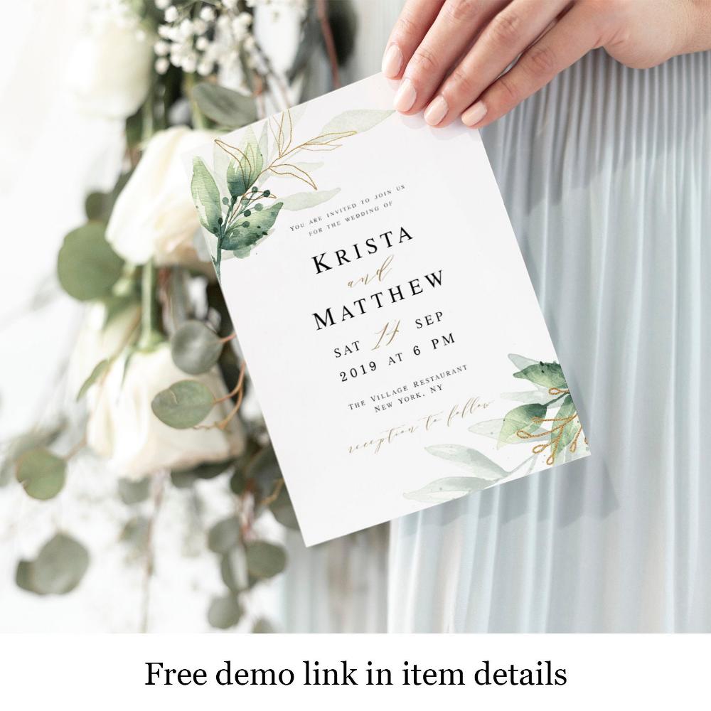 Greenery Wedding Invitation Templates