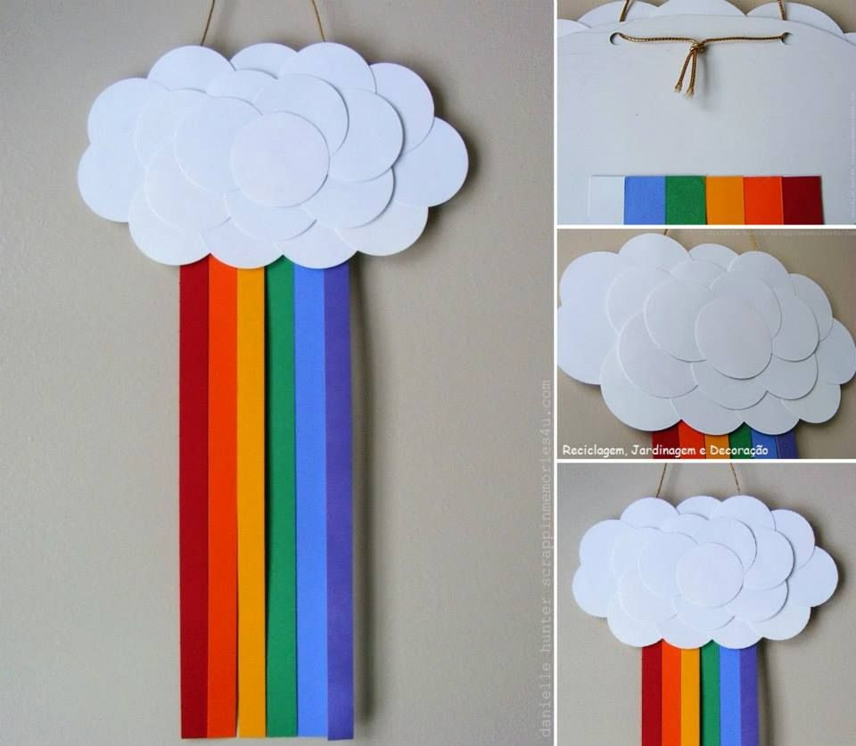 Arcoíris Y Nube Con Listones De Colores Y Cartulina Rainbows Christmas Rainbow Projects