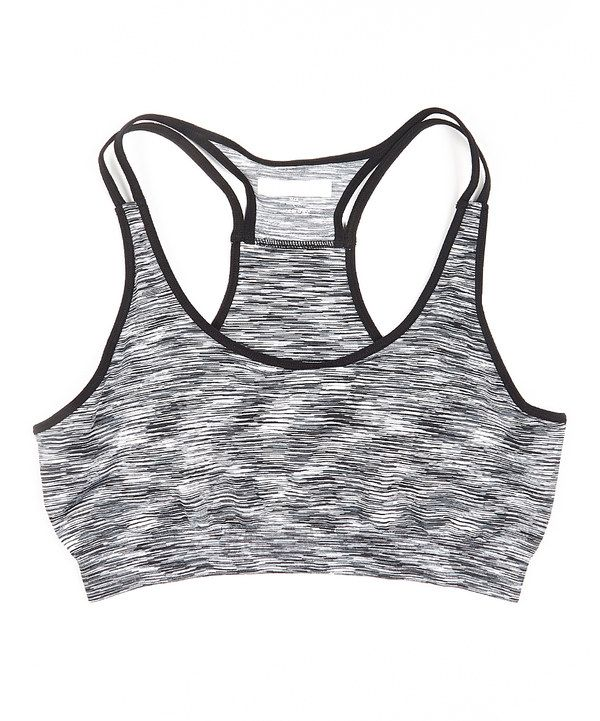 4166e91b36 Look at this Just One Fitness Marled Black Seamless Double-Strap Sports Bra  - Women on  zulily today!