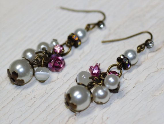 Vintage pearl bead earrings with pink roses and by Soulceen