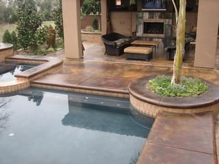 Covered Deck Concrete Pool Pool Landscaping Concrete Patio Designs