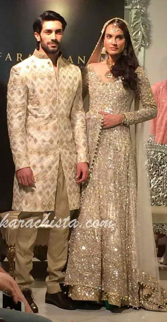 bf4bfdccc7 Bridal in cream dress with dupatta and groom in matching short sherwani  latest indian and pakistani wedding matching dress combinations for bride  and groom ...
