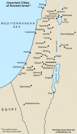 Important Cities of Ancient Israel Map | Map, Bible mapping ...