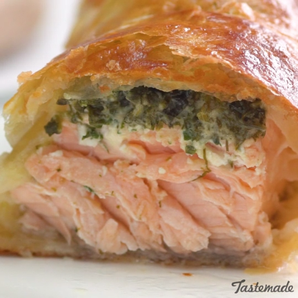 Herb Coated Salmon in Puff Pastry #fishmeal