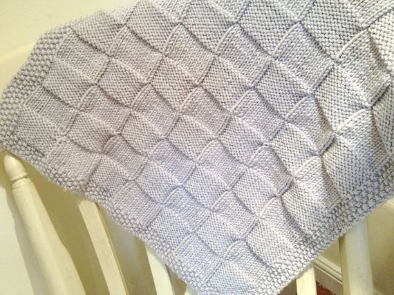 Knitting Pattern Chunky Checks Baby Blanket By Blueberrybarnyarn