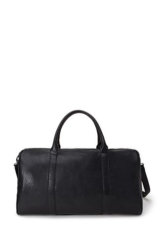 Black Pebbled Faux Leather Duffle Bag Forever21 1000101030 40