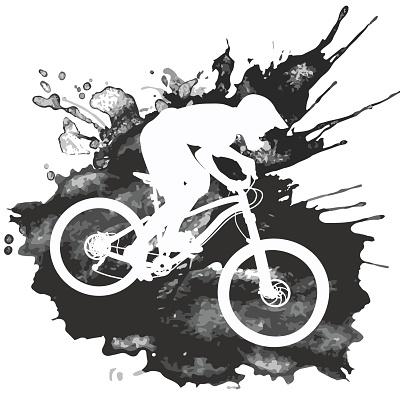 Silhouette Of A Biker Descending On A Mountain Bike On A Slope Mountain Bike Art Bike Illustration Bike Silhouette