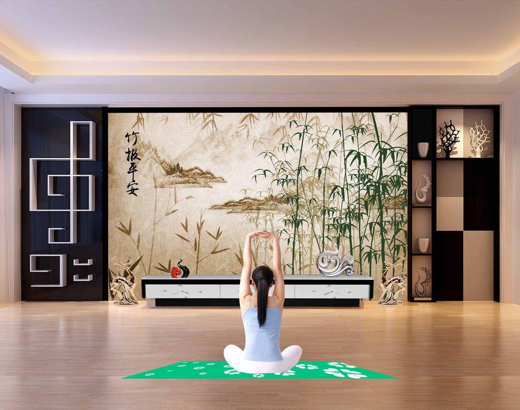 papier peint asiatique paysage avec les bambous aspect. Black Bedroom Furniture Sets. Home Design Ideas