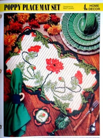 Poppy Place Mat Set with Coasters for Remembrance Day/Veterans Day - plastic canvas pattern