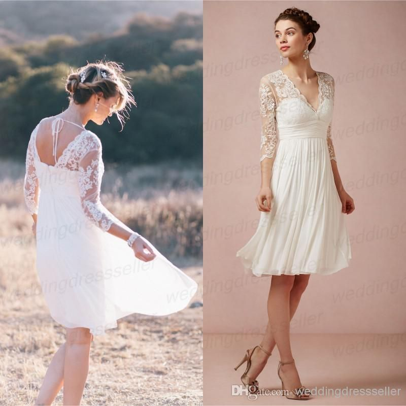 Wholesale lace bridesmaid dress buy 3 4 long sleeves for Knee length beach wedding dresses