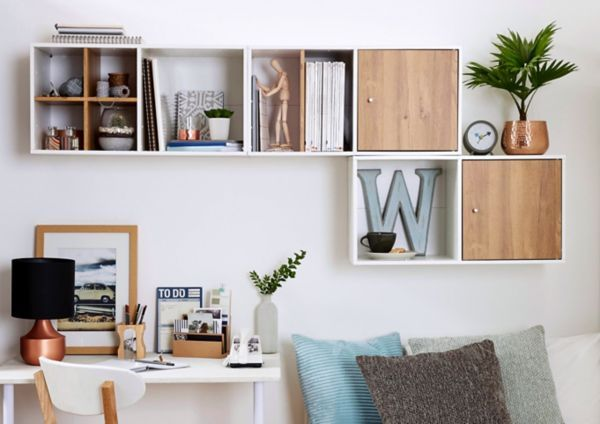 Add wooden doors to your shelving units to bring your living room ...