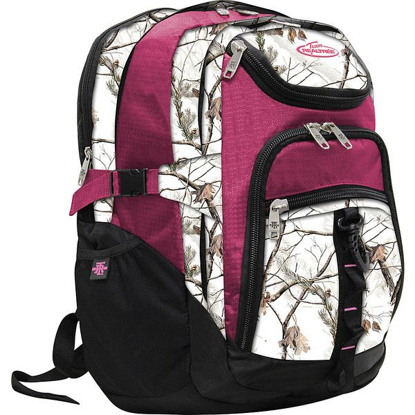 RealTree 3 Section Laptop Back Pack - Xtra Snow / Raspberry - Laptop... ($31) ❤ liked on Polyvore featuring bags, backpacks, pink, day pack backpack, laptop rucksack, realtree backpack, pink laptop backpack and padded backpack
