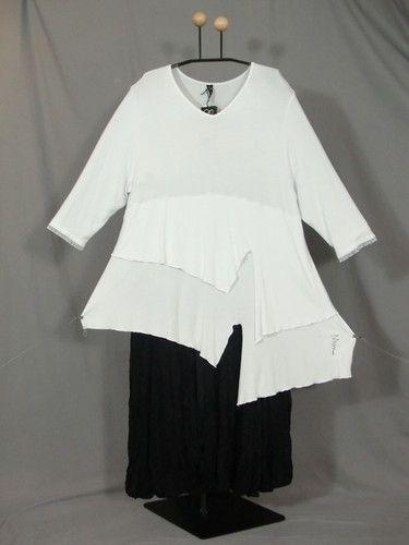 Details zu Lagenlook A-Linie-Top-Tunika-Kleid Jersey+Spitze WEISS 44 ...