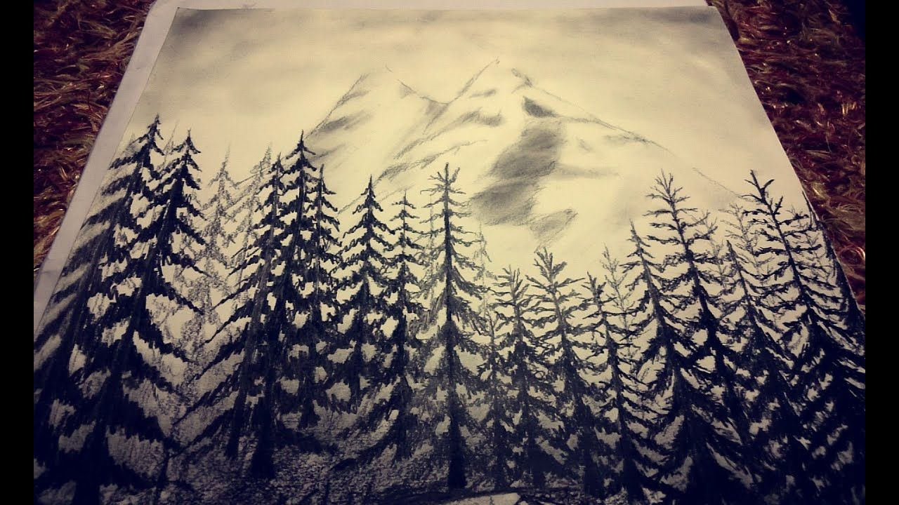 Charcoal Drawing Forest Mountains Sketch It Mountain Drawing Cool Landscapes Landscape Drawings