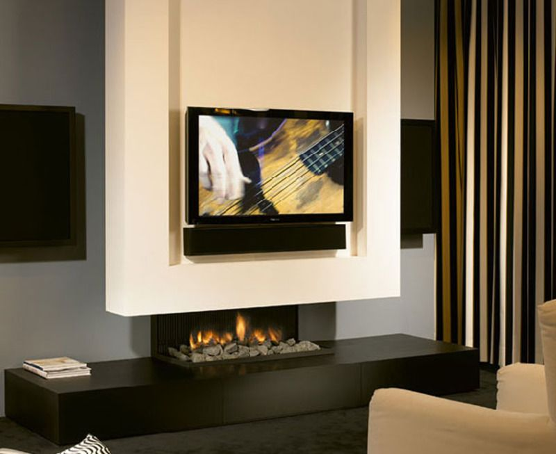 Minimalist Fireplace Design With Tv Set Minimalist Fireplace Tv