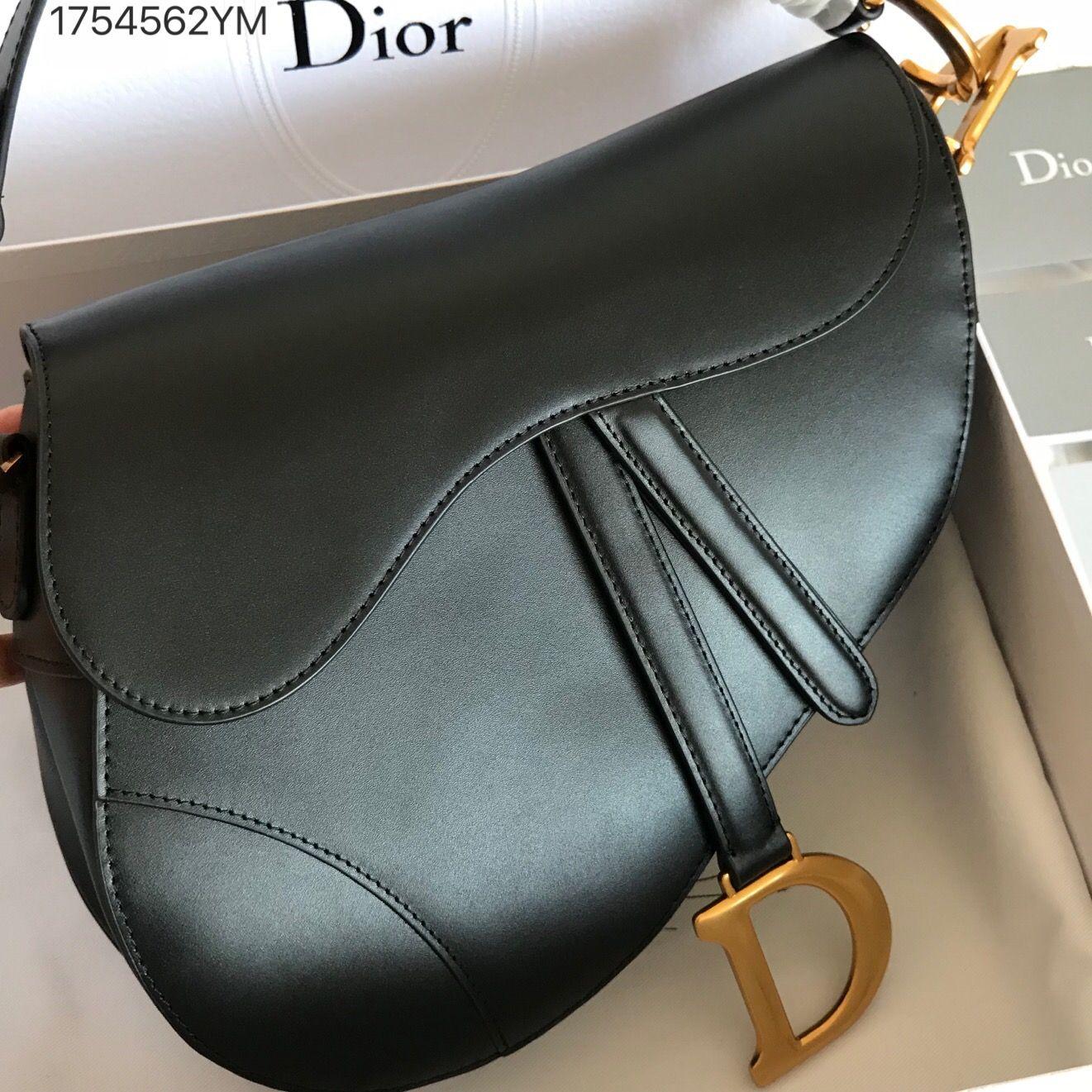 2d97e685d304 Christian Dior CD woman saddle shoulder bag original leather version black
