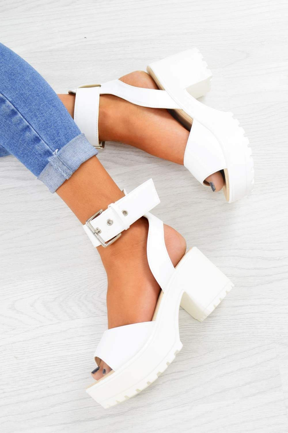 903d10d154 MOVE IT Chunky Platform Buckle Sandals - White PU in 2019 | shoes ...