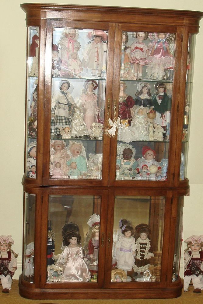 Ski Furniture Corp Lighted Curio Doll Knick Knack Cabinet Gl Shelves Door