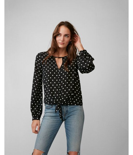 bf64e37f126601 Polka Dot Tie Front Cut-Out Blouse Black And White Women s XX Small ...