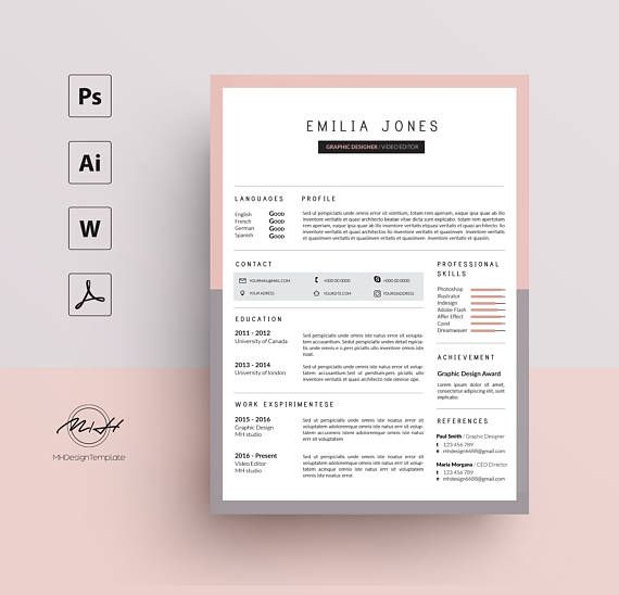 Pink Gray Resume Template / CV template / FREE Cover letter