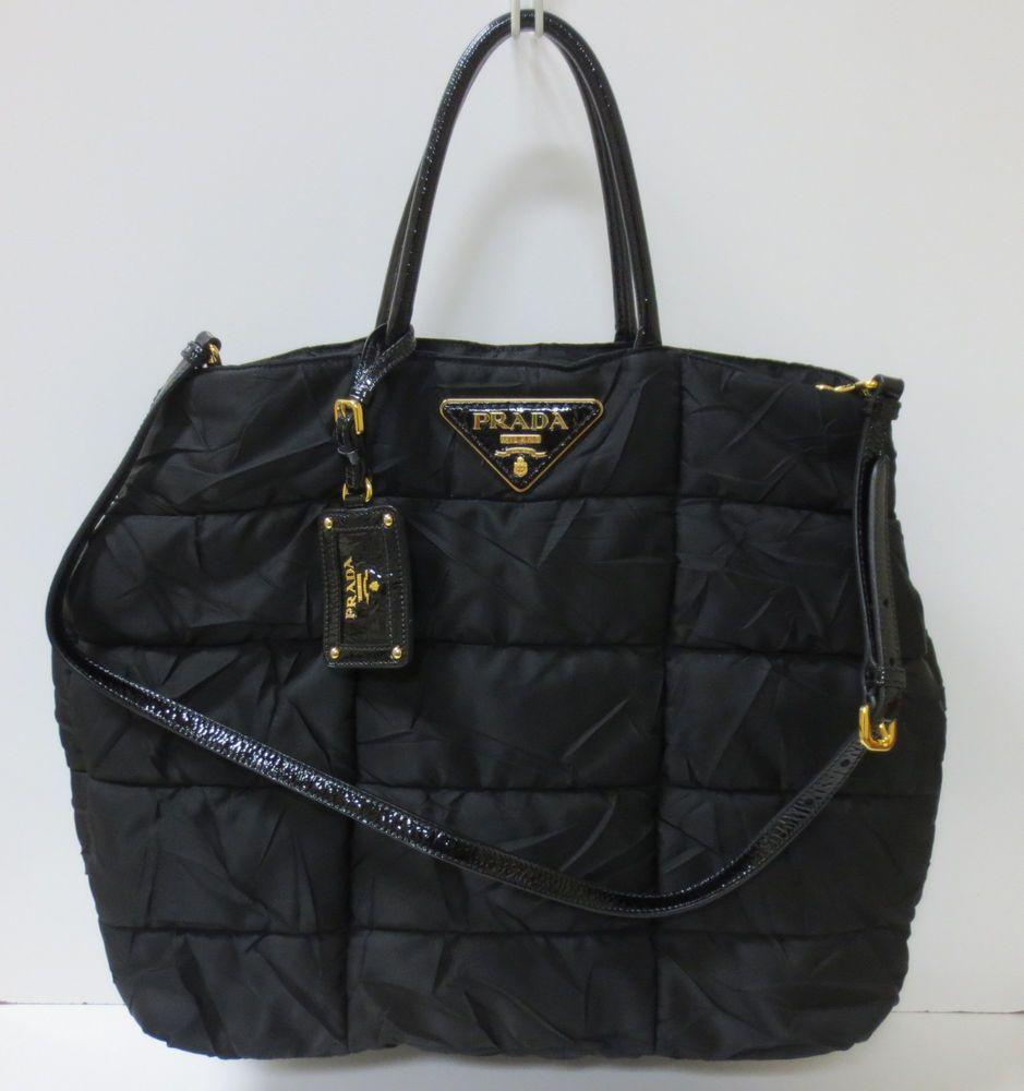 75af2986b730 PRADA Black Nylon Gabardine  Crispy  Tote Handbag