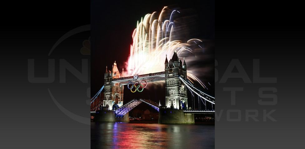 Fireworks burst over Tower Bridge and the River Thames in London during Opening Ceremonies for 2012 London Olympic Games. (Rob Schumacher-USA TODAY Sports)