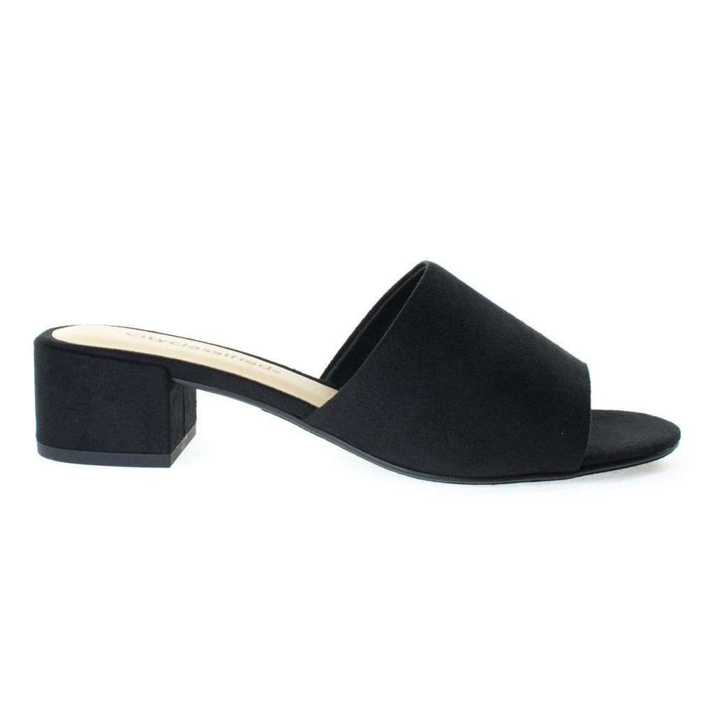Black Suede Low Block Heel Open Toe Slide Mule Open