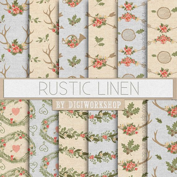 Rustic Digital Paper Linen Or Floral Patterns