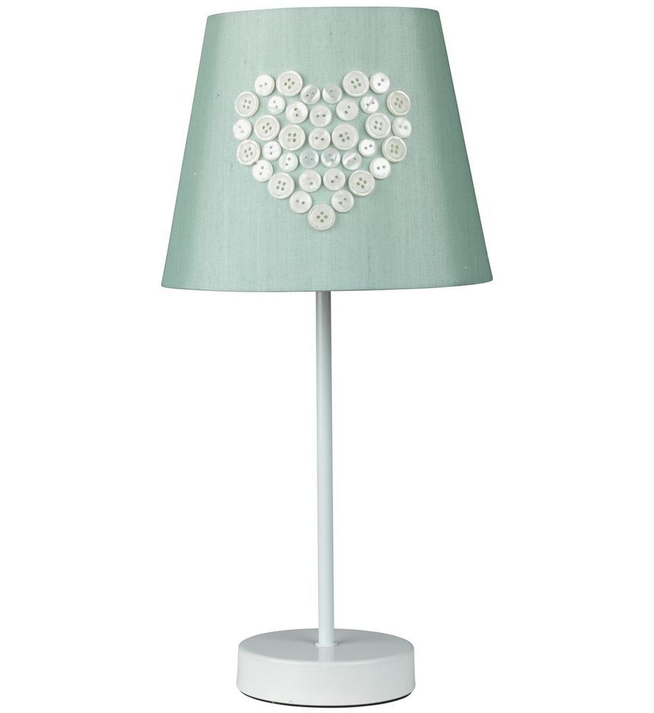 Love White Metal Table Lamp With Duck Egg Blue Button Embellished