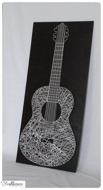 Schnur, Kunst, Musik, Gitarre, Musikinstrument, Musik-Geschenk, schwarz & weiß Holztafel, große Zeichenfolge Gitarre, Musik, Musik-Fan, Inneneinrichtungen #musicalinstruments