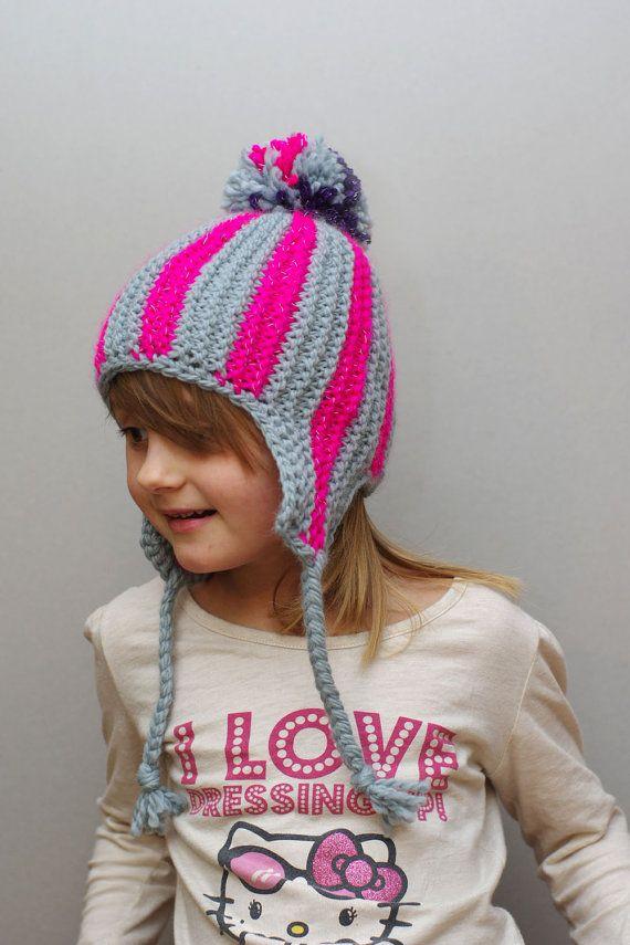 93beb41443194 Kids reflective striped ear flap hat aviator cap #knit #hat #kids ...