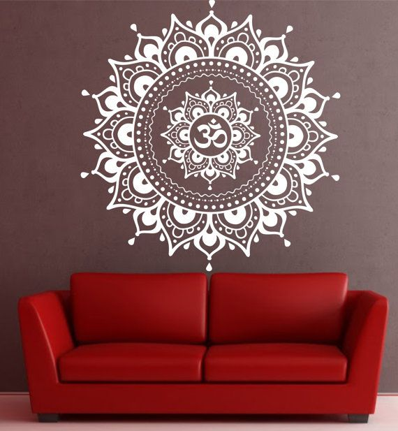 Mandala wall decal mandala decal yoga om namaste yoga for Mural mandala
