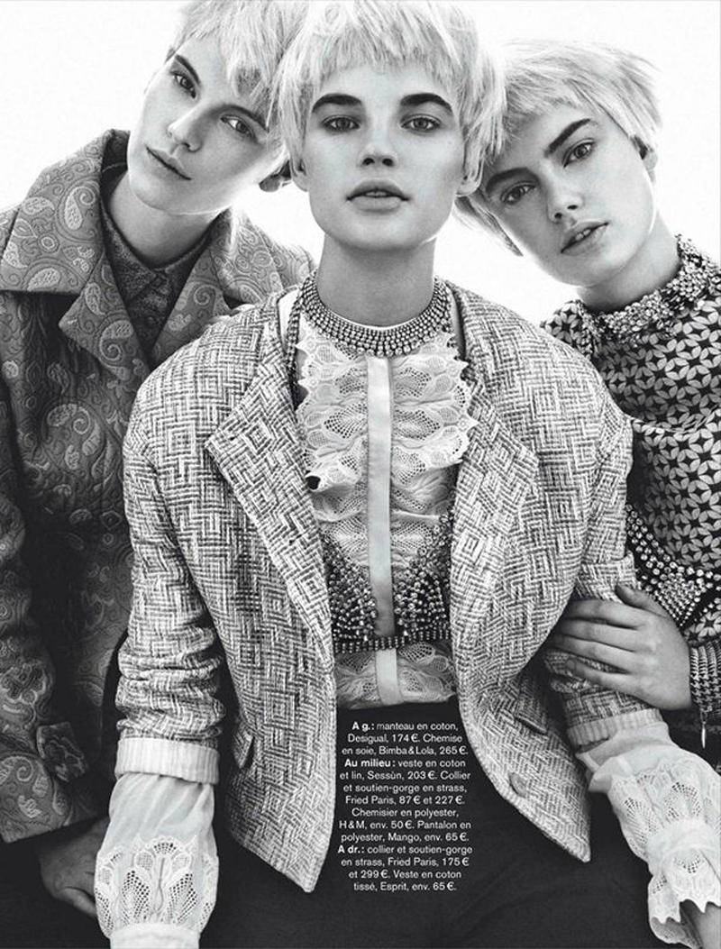 M: Victoria Tuaz, Isabel Scholten and Hanna Verhees, P: Alvaro Beamud Cortes, S: Virginie Benarroch (Glamour France March 2014)