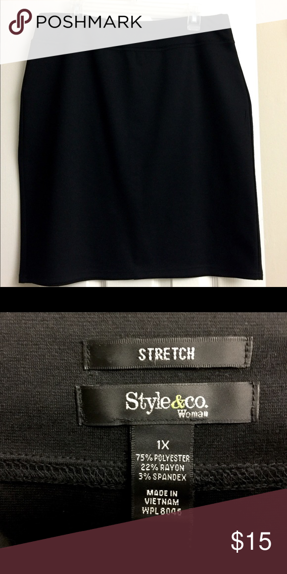 "Macy's Style & Co Black Stretch Pencil Skirt 1X Like new, wore maybe twice. Waist is 36"" and length is 23"". Measurements are without any stretch. Length hits at knee on me, I'm 5'4"". Style & Co Skirts Pencil"