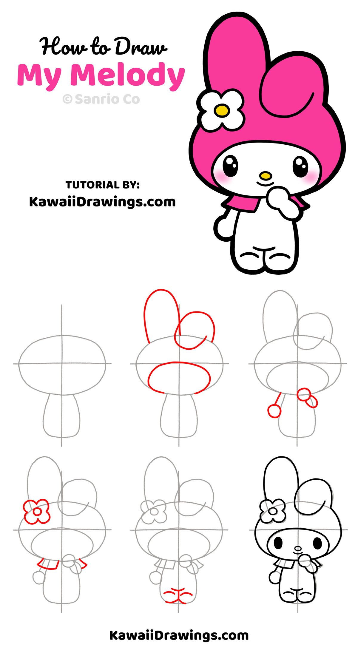 Easy stepbystep drawing tutorial to draw My Melody