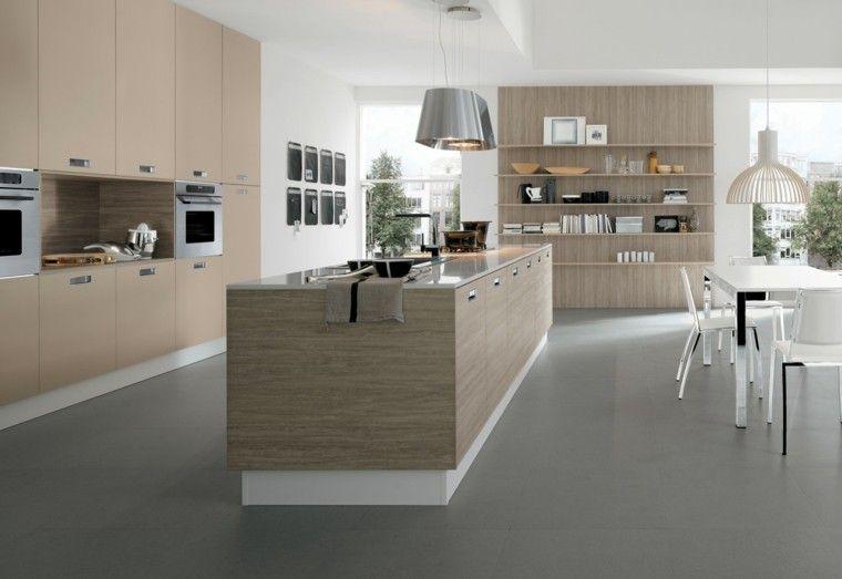 Dise o de cocina con laminado de madera clara kitchen - Cocinas con parquet ...