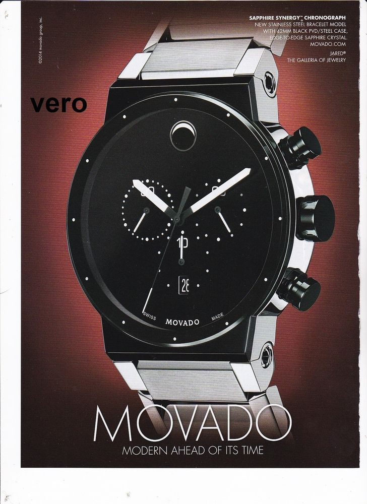 MOVADO 2014 watch magazine ad print page clipping advert SAPHIRE