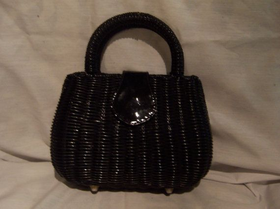Vintage Black Straw Wicker Handbag with by doyourememberwhen, $25.00