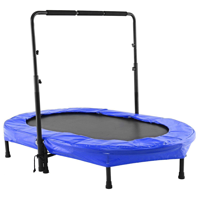 Foldable mini rebounder trampoline with adjustable handle