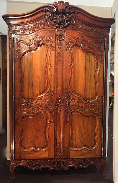 Fine French Louis Xv Period Armoire In Solid Carved Walnut With Original Hardware And Key Mid 18th Antique Furniture Carved Furniture Expensive Furniture