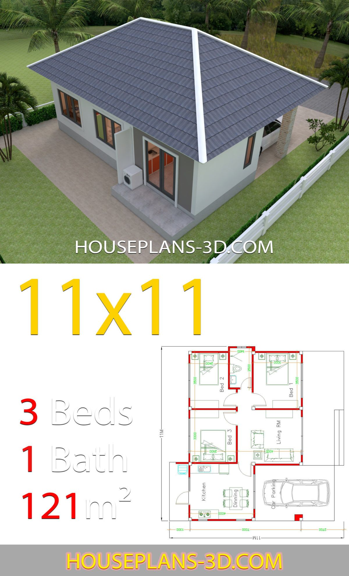 House Design 11x11 With 3 Bedrooms Hip Roof House Plans 3d Simple House Design Small House Design House Plans
