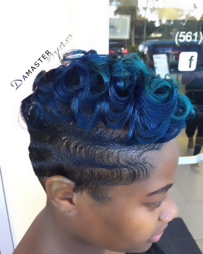 Hues Of Blue Finger Waves And Curls Short Hair Shaved Sides