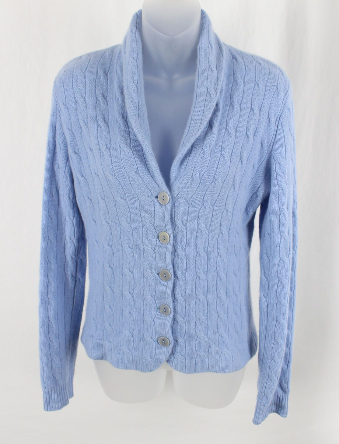 Ralph Lauren Womens Light Blue Cable Knit Cashmere Sweater ...