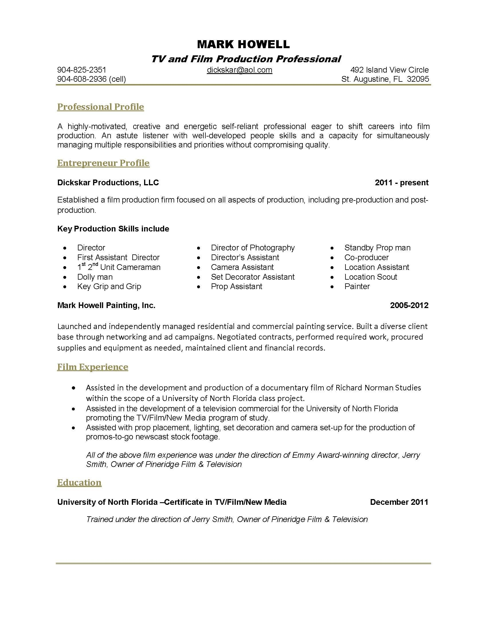 Film Producer Resume 1 Page  Resume Examples  Pinterest  Resume Examples