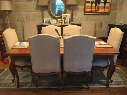 wooden french style extendable dining table and 8 chairs dining