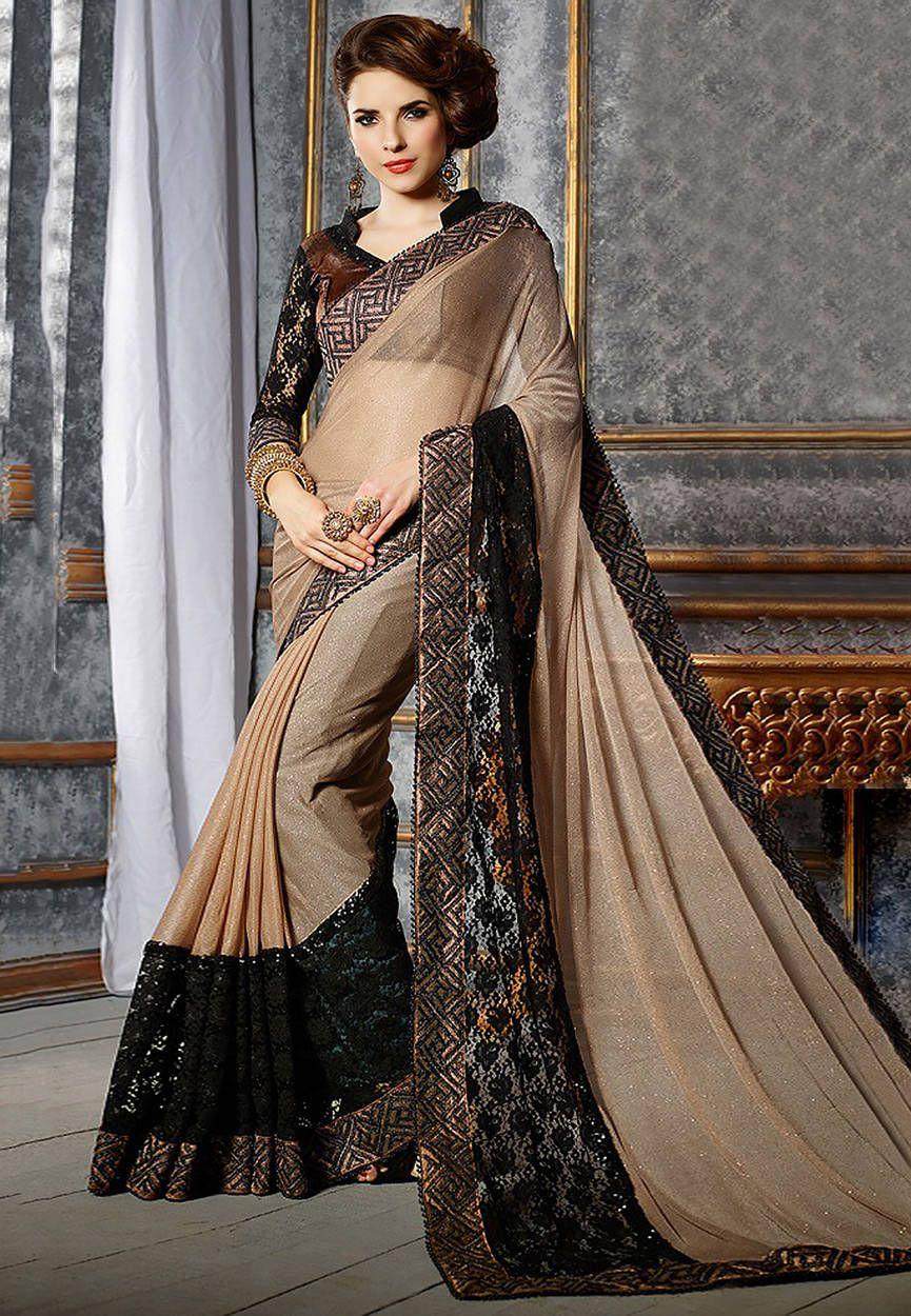 a2cb3cb34fc194 Fawn and Black Lycra Shimmer and Chantelle Net Saree with Blouse ...