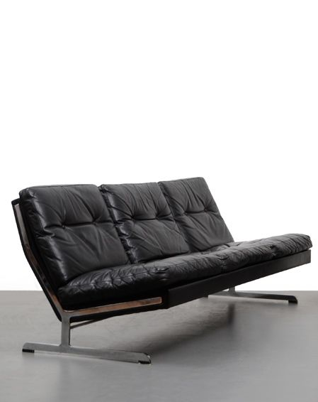 Poul Norreklit Leather And Chromed Steel Sofa For Algaras 1960s Canape Vintage Meuble Chaise Fauteuil