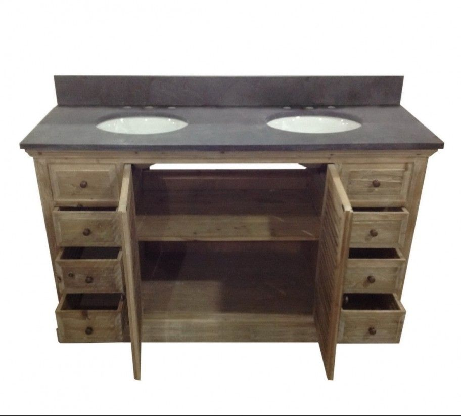 Rustic Bathroom Double Vanity legion 60 inch double sink rustic bathroom vanity wk1960, marble